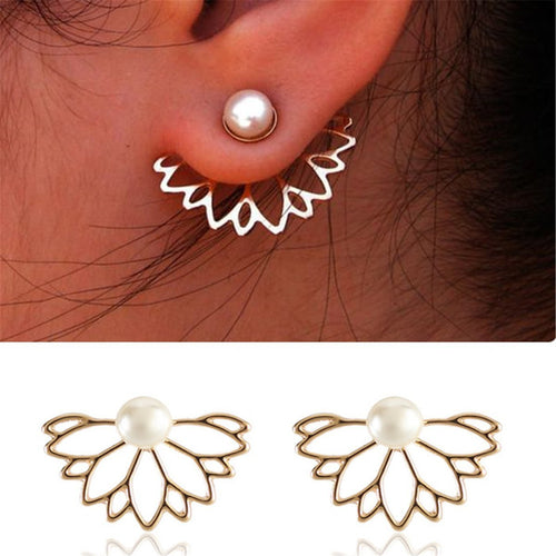 Elegant Pearl And Lotus Alloy Ear Studs Accessories