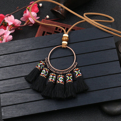 Bohemian Fashion Fringed Woven Pendant Necklace