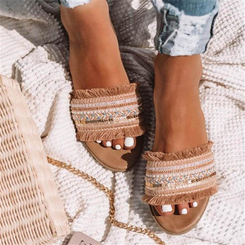 Fashion Vintage Woven Flat Slippers Sandals Flat loafers