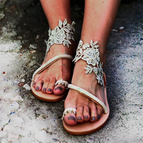 Fashion Wild   Woven Flower Flat Sandals