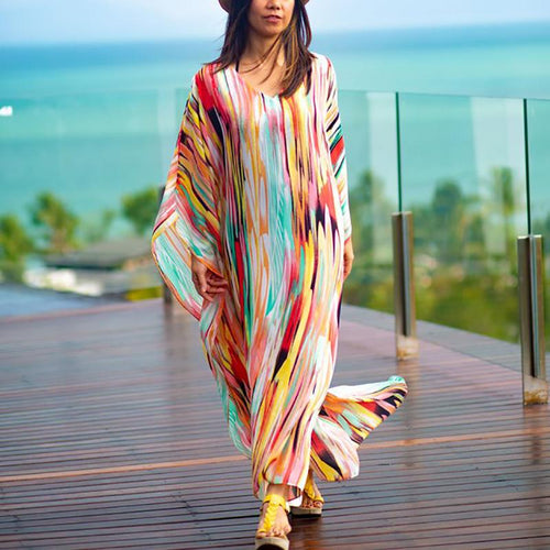 Bohemian Chiffon Sun-Protective Printed Colour Batwing Sleeve Beach Pullover