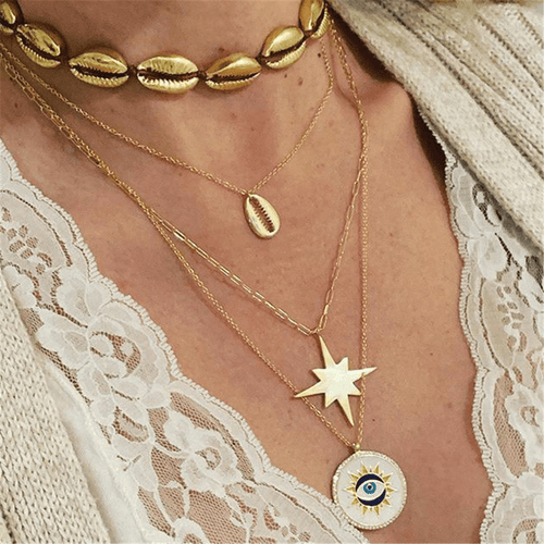 Fashion Wild Shell Sun   Alloy Necklace