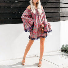 Load image into Gallery viewer, One-Shoulder Print Loose Trumpet Sleeve Tassel Dress