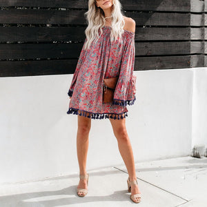 One-Shoulder Print Loose Trumpet Sleeve Tassel Dress