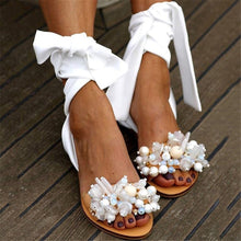 Load image into Gallery viewer, Women's Casual Beaded Strap Flat Sandals