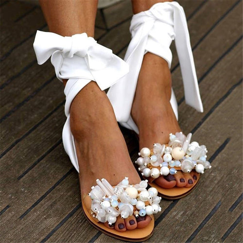 Women's Casual Beaded Strap Flat Sandals