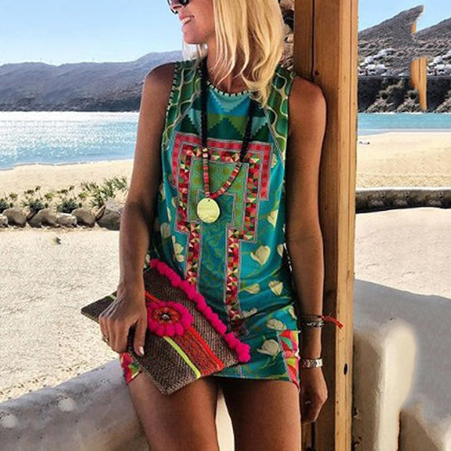 Women's Bohemian Round Neck Printed Color Dress