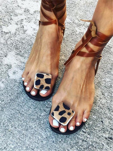 Women's Leopard-Print Toe Flat Sandals