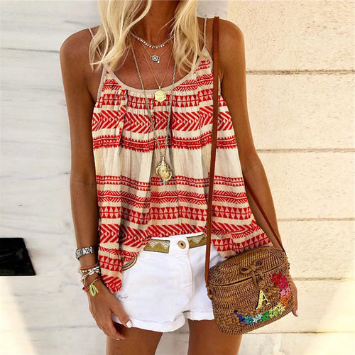Casual Sexy Strap Geometric Printed Vest