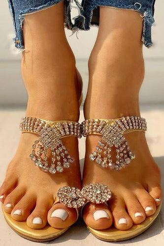 Women's Fashion Inlaid Rhinestone Tassels Solid Color Slippers