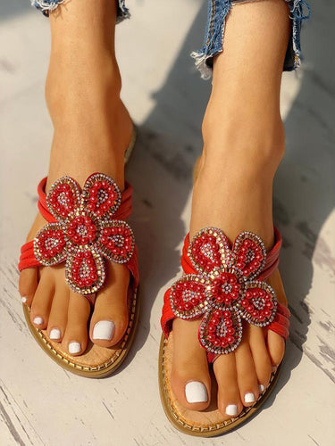 Women's Flower Pattern Beaded Design  Sandals