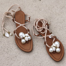 Load image into Gallery viewer, Women's Pearl Shell Strap Flat Sandals