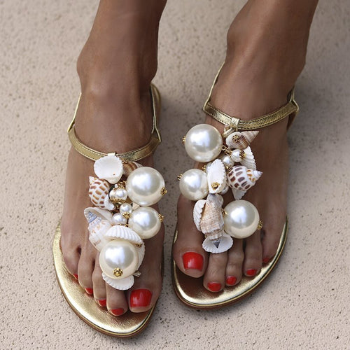 Women's Pearl Shell Decorative Flat Sandals
