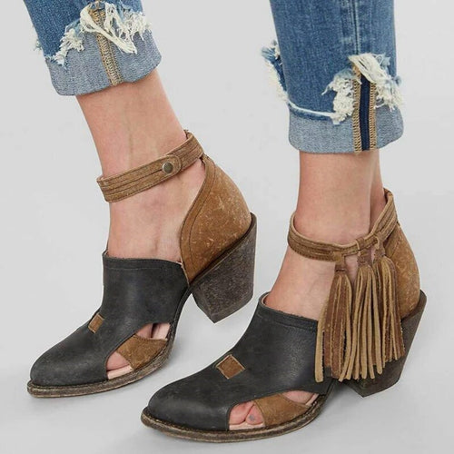 Women's pointed color matching tassel boots