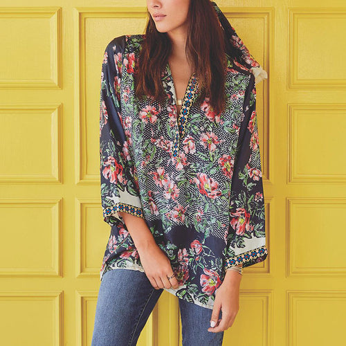Women's Classic Bohemian V-Neck Printed Color Bell Sleeve Blouse