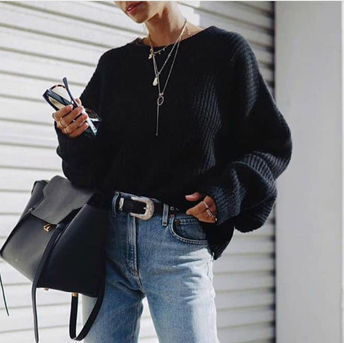 Casual Round Neck Solid Color Loose Sweater