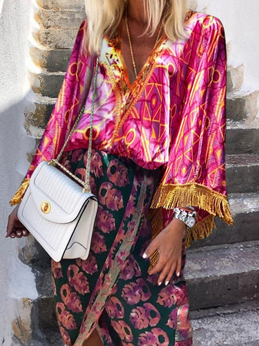 Women's Bohemian Deep V-Neck Printed Color Splicing Tassel Dress