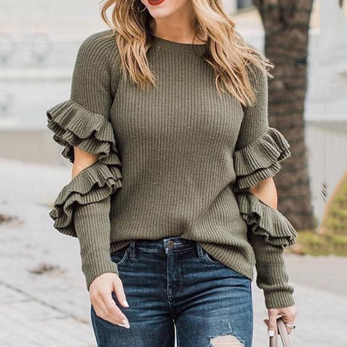 Womens fashion casual solid color ruffled sweater