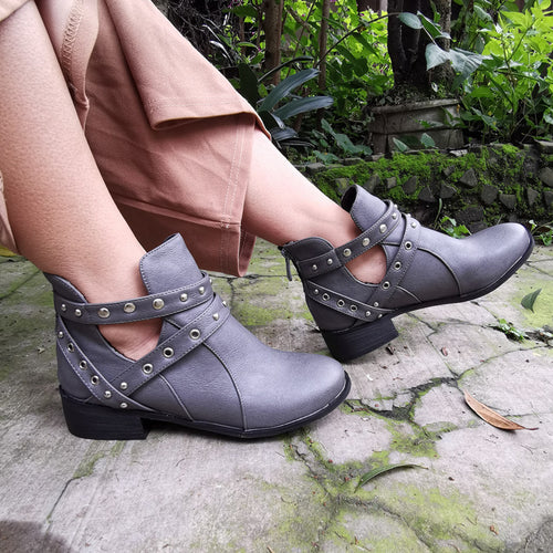 Women's back zipper solid color hollow low heel boots