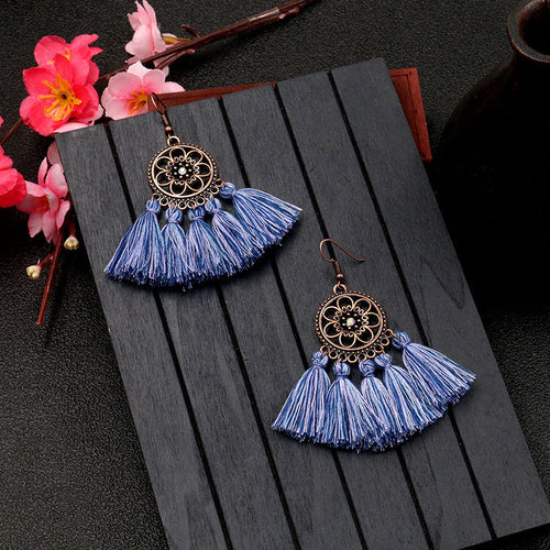 Bohemian sun flower six-pointed star tassel earrings