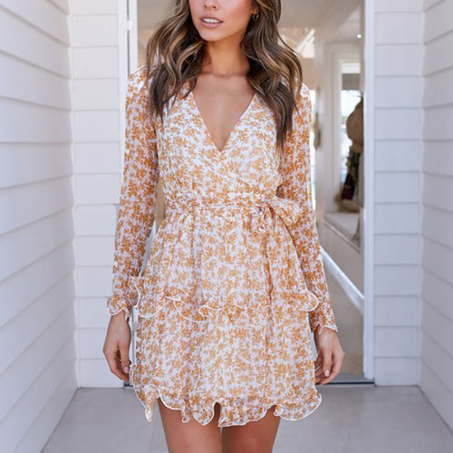 Elegant floral v neck ruffled belted short dress