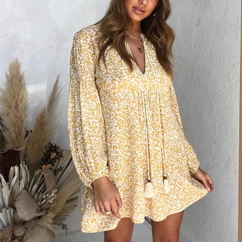 Womens fashion casual printed long-sleeved dress