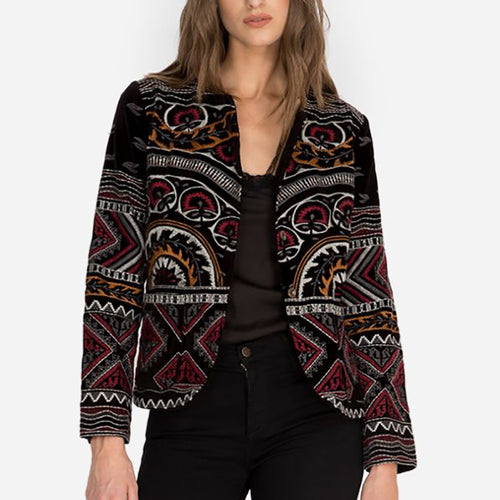 Ladies classic vintage print long sleeve jacket