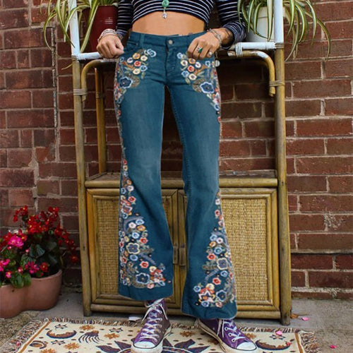 Womens Fashion Inwrought Bell-bottomed Pants