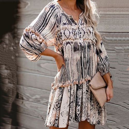 Female fashion loose long-sleeved round neck print dress