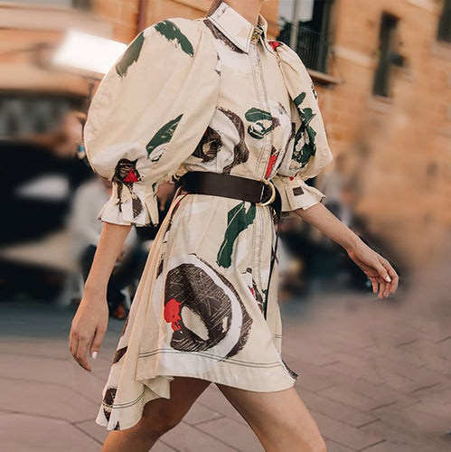 Fashion Print Puff Sleeve Dress