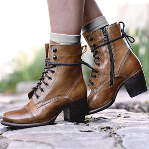 Retro ladies round-toed lacing high heel martin boots