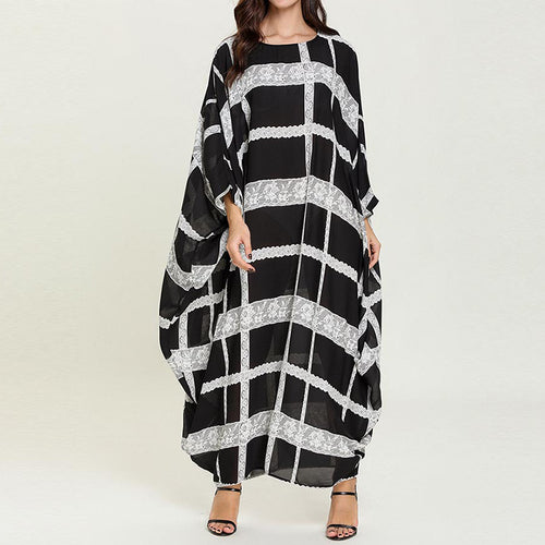 Womens Casual Striped Printed Loose Dress