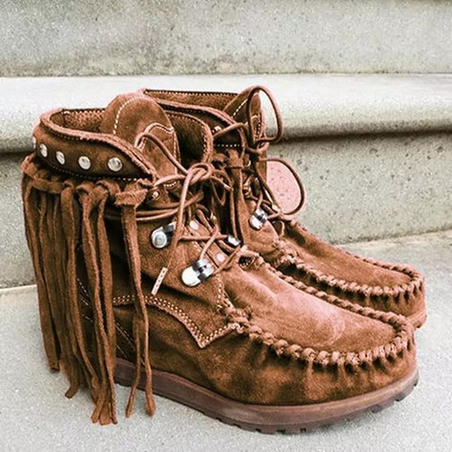 Vintage Women Tassel Rivet Solid Color Boots