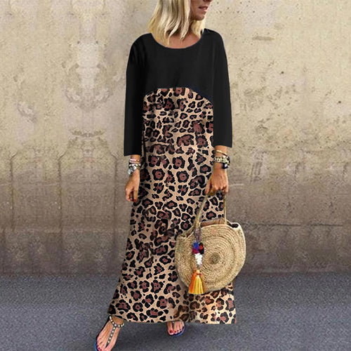Casual round neck stitching leopard long-sleeved dress
