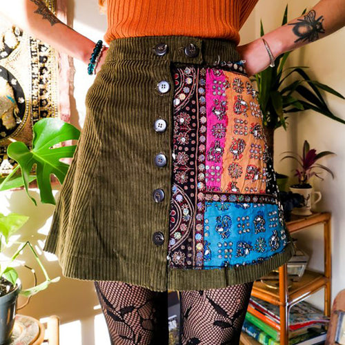 Women's contrast color stitching skirt