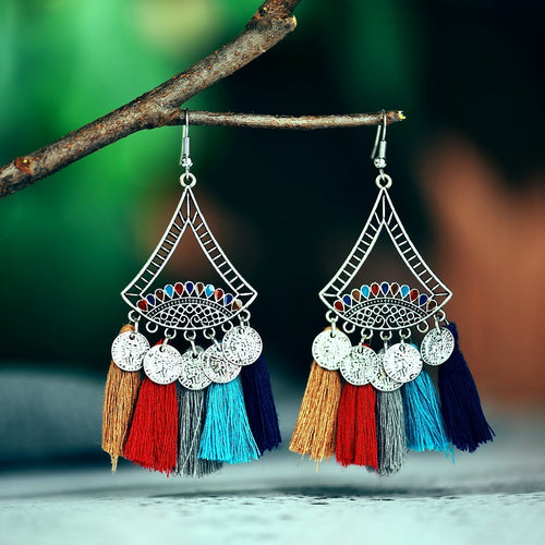 Personality stitching coin fan-shaped tassel earrings