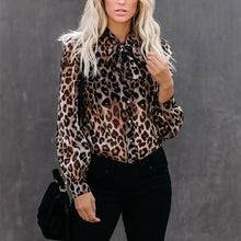 Load image into Gallery viewer, Sexy casual chiffon printed leopard blouse