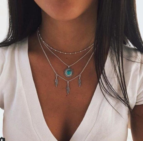Vintage Bohemian Turquoise Sun Flower Leaves With Multi-Layer Necklace