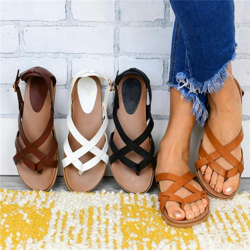 Women Sandals Open Toe Flat Heel Comfy Soft Sole Casual Sandals