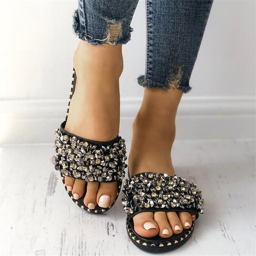 Rhinestone Beaded Flat Bottom Flip Fashion Wearing Beach Slippers