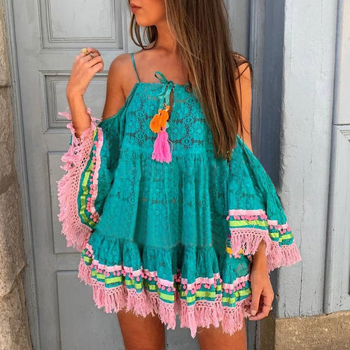 Bohemian Sling Stitching Strapless Dress