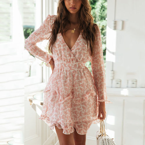 Chiffon Printed Cake Mini Dress