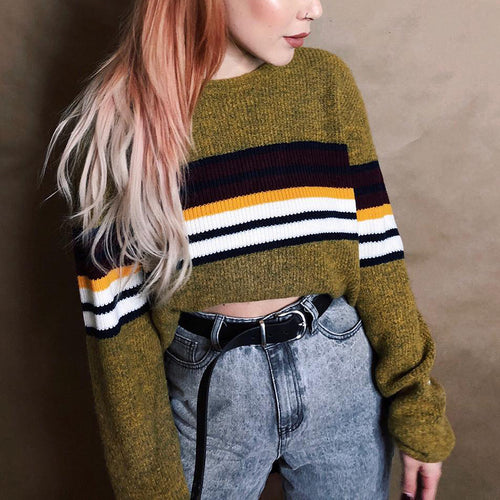 Fashion Round Neck Contrast Striped Navel Sweater