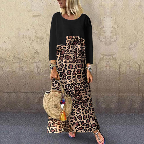 Casual round neck stitching leopard dress