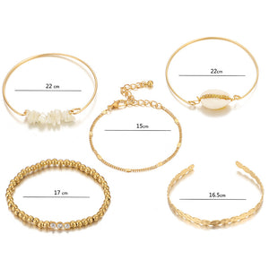 Fashion Shell Pearl String Gold Beads 5 Piece Bracelet
