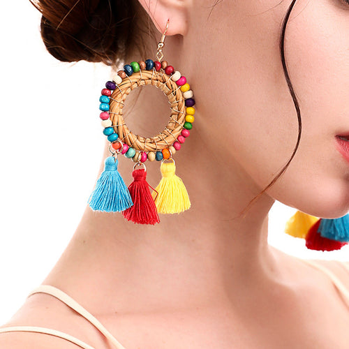 Bohemian Circle Rice Beads Rattan Tassel Earrings