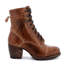 Load image into Gallery viewer, Retro ladies round-toed lacing high heel martin boots