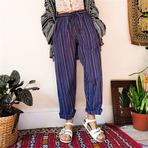 Women's Vintage Striped Loose Casual Pants