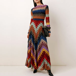 Fashion Irregular Stripe Contrast Long Sleeve Dress