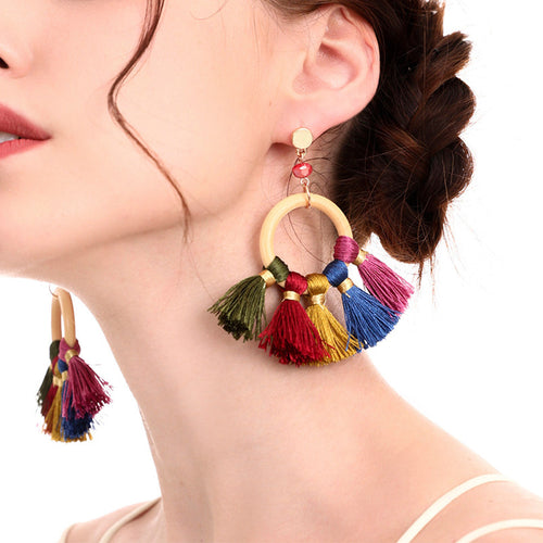 Fashion Cotton Colorful Fringe Earrings
